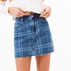 PacSun Plaid Frayed Denim Mini Skirt